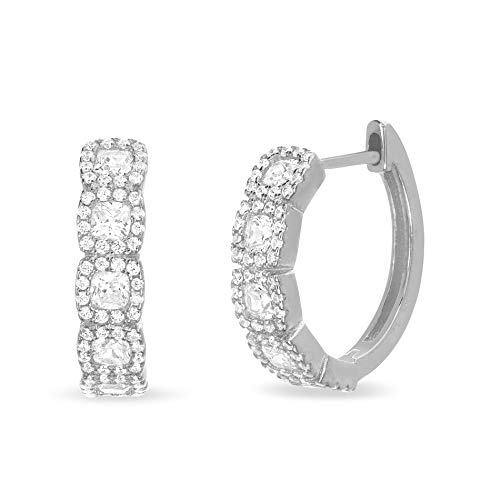 - INSPIRED BY YOU. Round and Princess Cut Bead Set Cubic Zirconia Hoop Bridal Halo Earring for Women in Rhodium Plated Sterling Silver (White)