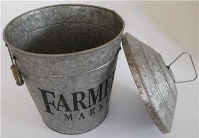Metal Industrial Farmhouse Chic Pail Planter