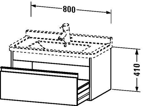 Vanity Unit Duravit (Duravit KT666404949 Vanity Unit Wall-Mounted for #030480, 18 1/4