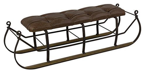 Sarreid 30806 Snow Sled with Upholstered Top by Sarreid