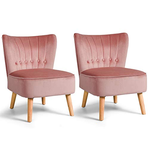Giantex Set of 2 Modern Velvet Accent Chair, Upholstered Leisure Sofa Chair w/Wood Legs, Thickly Padded and Button Tufted, Armless Wingback Club Chairs for Living Room Bedroom Furniture (2, Pink)