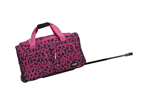 Fox Rockland 22 Inch Rolling Duffle Bag, Magenta Leopard,...
