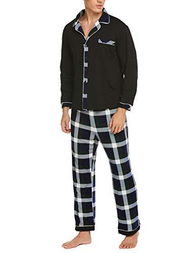 Ekouaer Mens Flannel Pajamas, Long Cotton Pj Set Green Small