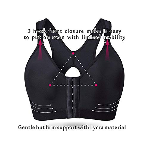 SHAPERX Women's Post-Surgical Front Closure Sports Bra Adjustable Wide  Strap Racerback Support Bra,SZ83288-Black-S