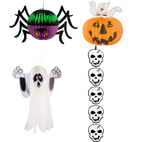 3pcs Halloween Hanging Paper Lantern 1pcs Garland Banner Ghost Spider Pumpkin Shaped Large Honeycomb Party Decorations Props Garden Home Yard Kids Spooky Night Fireplace Indoor Outdoor