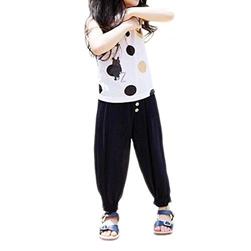 a8855d1284a27 Weileenice® 子供服 女の子 パンツ イージーパンツ 100 150 九分丈 薄手 ...
