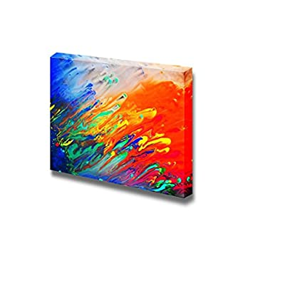 Canvas Prints Wall Art - Colorful Streaked Painting   Modern Wall Decor/Home Decoration Stretched Gallery Canvas Wrap Giclee Print. Ready to Hang - 32