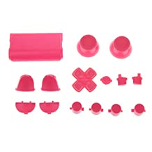 Generic L2 R2 L1 R1 Thumbstick Joystick D-pad Anolog Cap Button Mod Game Set Bullet Kit for Sony PS4 Controller Pink