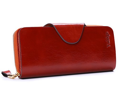 Yafeige Large Luxury Women's RFID Blocking Tri-fold Leather Wallet Zipper Ladies Clutch Purse(1-Waxed Vegetable Tanned Brown)