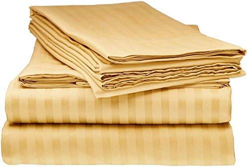 Pillowcase Gold Striped (ELEGANTE 1800 Premier Series Striped 4pc Queen Bed Sheet Set, Gold)