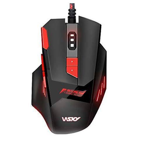 Wsky Gaming Mouse Wired, Ergonomic USB Optical Mouse Mice with 7 Colors LED Backlight, 4 Adjustable DPI Levels, Perfect for Computer/PC/Laptop/Mac, Red [2019 Upgraded Version]