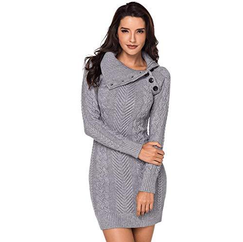 De Bodycon Botón Suéter La Punto Mujer gray Vestido Collar m Asimétrica Sunmiya gwUp55