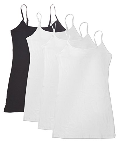 Active Products 4 Pack Women's Basic Tank Top,White, White, White, Black,Large