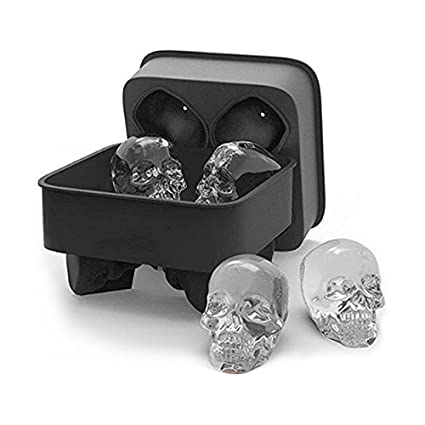 2Pcs Skull Shape 3D Ice Cube Mold Maker Bar Party Silicone Trays Chocolate Mould
