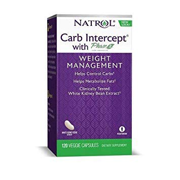 Natrol Carb Intercept with Phase 2 Starch Neutralizer, 120 Capsules (Pack of 4)