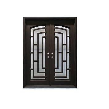 Custom Made doble exterior frontal entrada doble de hierro forjado puerta de cristal puertas - Ito: Amazon.es: Bricolaje y herramientas