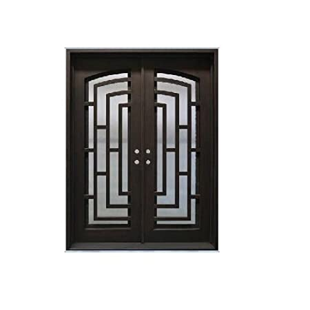 Custom Made Double Exterior Front Entry Double Wrought Iron Gl ... on