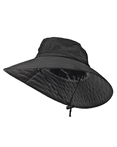 Sun Protection Zone Unisex Lightweight Adjustable Outdoor Booney Hat (100 SPF, UPF 50+) - Black