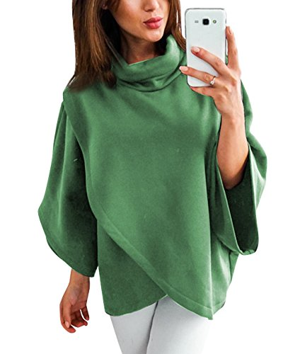 leneck Poncho Asymmetric Hem Wrap Pullover Sweatshirt Army Green XL (High Neck Sweatshirt)