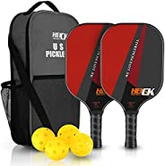 HEICK Fiberglass Pickleball Paddles Set of 2 (Limited Edition), Included 2 Lightweight Racquets,4 Balls for Ou