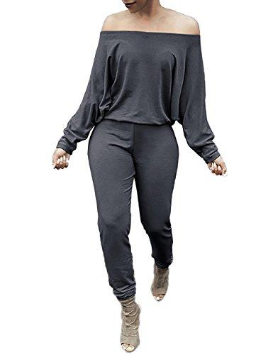 VintageRose+Womens+Off+Shoulder+Solid+Waisted+Long+Jumpsuit+Romper+X-Large+Dark+Gray