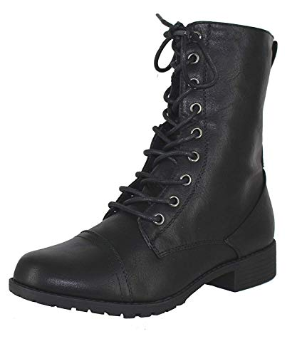 (Forever Link Womens Mango Round Toe Military Lace up Knit Ankle Cuff Low Heel Combat Boots Black)