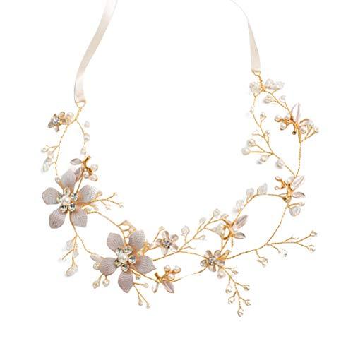 (Asymmetric Rhinestone Flower Hair Vine Pearls Decor Elegance Gold Bridal Headband)