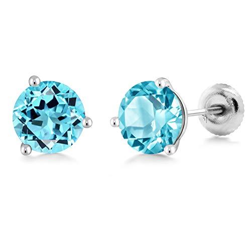 Gem Stone King 18K White Gold 1.80 Ct Round 6mm Swiss Blue Topaz 3-Prong Martini Stud Earrings ()