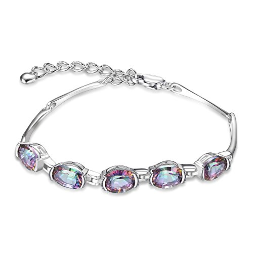 JewelryPalace Natural Rainbow Quartz Tennis Bracelet 925 Sterling Silver