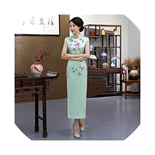 (HappyWe New Cheongsam Silk Embroidery Improved Long Cheongsam Heavy Silk Silk Spot Dress Female,Silk Light Green Bamboo Leaves,M)