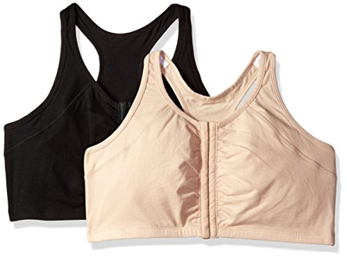 Fruit of the Loom Women's Front Close Racerback (Pack of 2) Bra, Sand/Black, 40