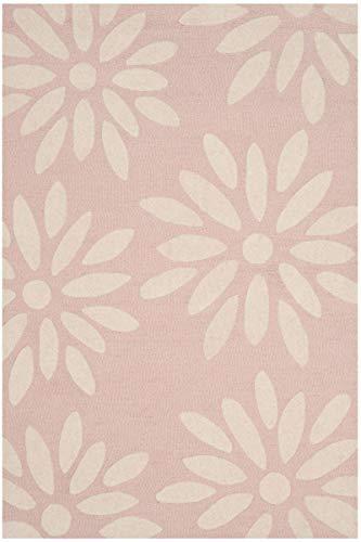 Safavieh Kids Collection SFK914P Handmade Pink Daisy Wool Area Rug (4' x 6')