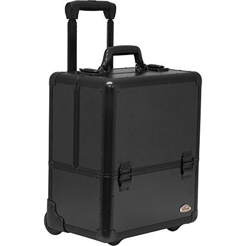 SUNRISE Makeup Case on Wheels C6033 Artis Professional Storage, 8 Trays with Adjustable Dividers, Black Matte