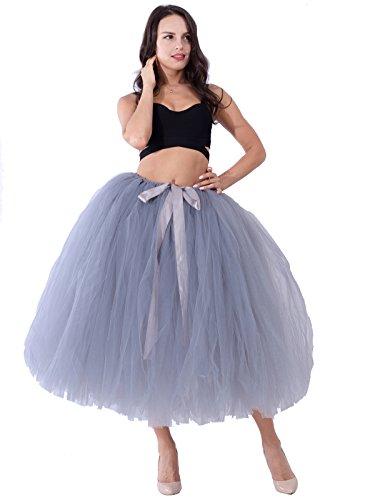 party train Handmade Tutu Tulle Skirt 80cm Long Overskirt for Adult Photography Wedding Gray -