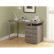 Monarch Specialties Reclaimed-Look Left or Right Facing Desk, 48-Inch, Dark Taupe