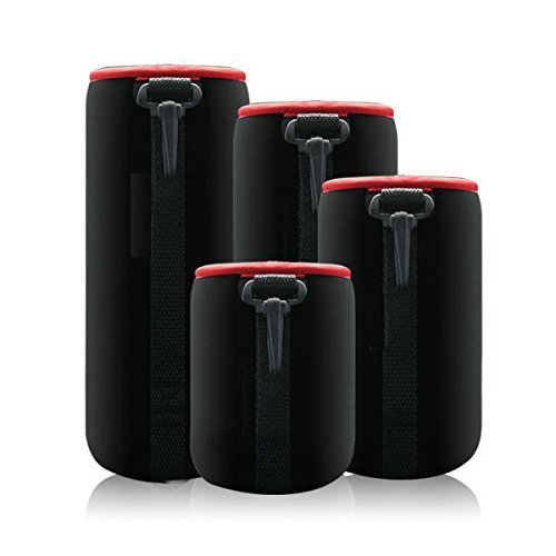 Mondpalast@ schwarz schützenden Neopren Objektivtasche für Canon, Leica, Nikon, Olympus, Panasonic, Pentax, Samsung, Sigma, Sony, Tamron, Tokina-Objektive Objektive etc - 4 Größe Multi Pack (S, M, L & XL) - Haken und Gürtelschlaufe