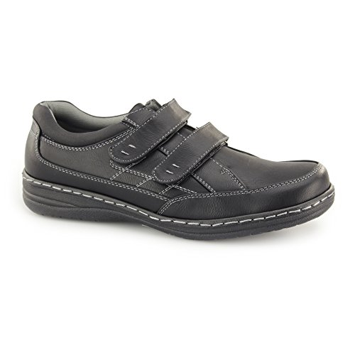 Dr Keller MOSTON Mens Touch Fasten Wide Fit Shoes Black Black