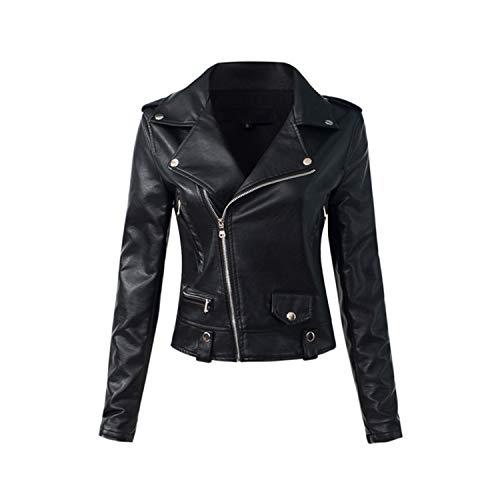Coated Biker Style Jacket - Everley Austin Casual PU Leather Jacket Women Classic Zipper Short Motorcycle Jackets Lady Sof
