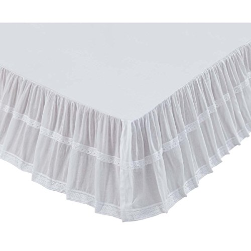 VHC Brands Farmhouse Bedding - Quinn Bed Skirt, White, Queen (Sale Bed Antique For Queen)
