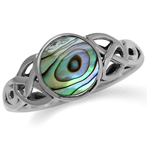 Silvershake Abalone Paua Shell Inlay 925 Sterling Silver Triquetra Celtic Knot Solitaire Ring Size 9