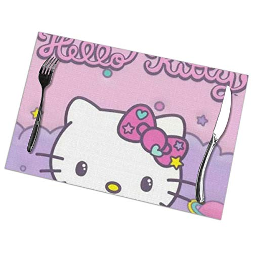 LIUYAN Placemats Hello Kitty Cute Head Placemat Washable Table Mats Set of 6 for Dining Table