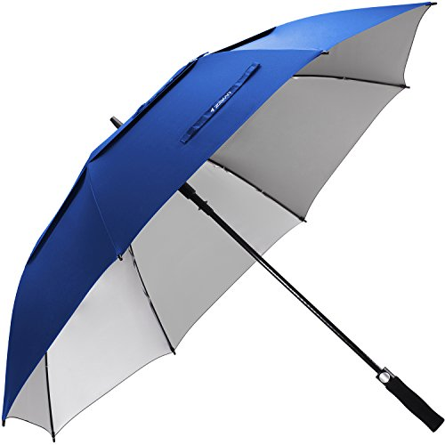 ZEKAR 54/62/68 inch Windproof Large Vented UV Protection and Classic Pongee Fabric Golf Umbrella, Double Canopy Rain and Sun Stick Umbrellas ()