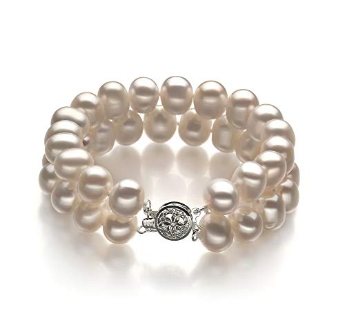 Leonora White 8-9mm Double Strand A Quality Freshwater Cultured Pearl Bracelet for Women-7 in Length