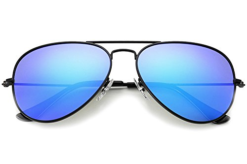 YuFalling Polarized Aviator Sunglasses for Men and Women (black frame/sky blue lens, - Glass Sunglass Black Frame