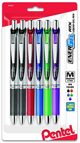 Pentel EnerGel Deluxe RTX Gel Ink Pens, 0.7 Millimeter Metal Tip, Assorted Colors,  6 Pack (BL77BP6M)