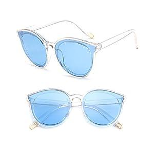Misright Women Plastic Frame Sunglasses Eyewear Eye Glasses Fashion Shades Candy Color (Transparent&Blue)