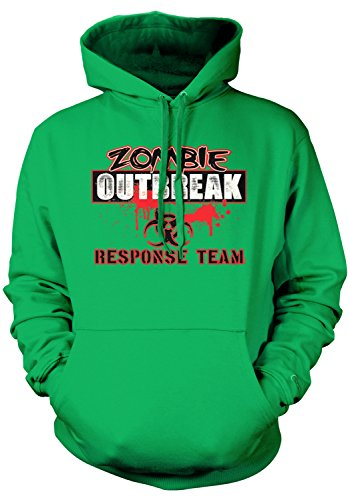 Amdesco Men's Zombie Outbreak Response Team Hooded Sweatshirt, Kelly Green (Halloween Sayings About Food)