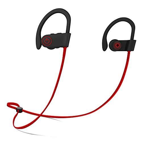 Firstop Auriculares Bluetooth, AudífonosInalámbricos Impermeables IPX7, Auriculares con Reducción de Ruido y Ajuste Seguro para Deportes y Gimnasia, con Micrófono Incorporado(Rojo)