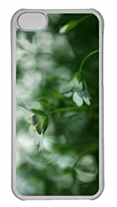 Customized iphone 5C PC Transparent Case - White Small Flower Blur Personalized Cover