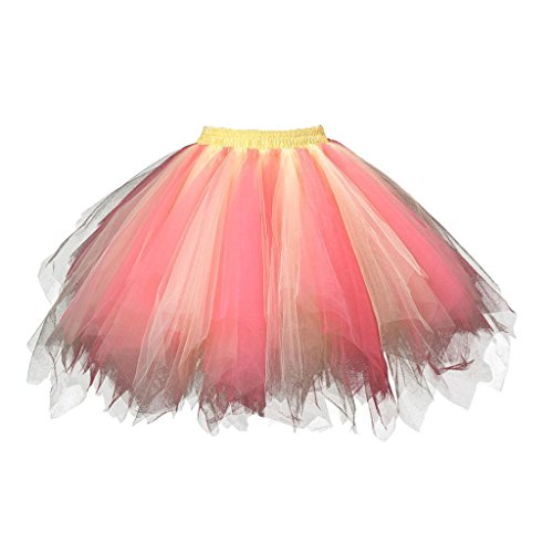 Adult Women 80's Tutu Skirt Layered Tulle Petticoat Halloween Tutu Yellow/Pink - Cheap And Easy 80's Costumes